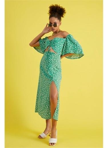 Z Giyim Kadın  Kahverengi Desenli  Ön Biritli Kordonlu Elbise Yeşil